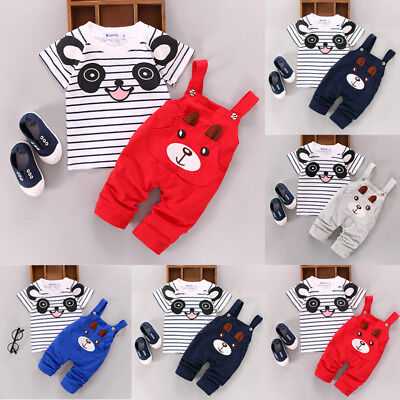 AU Stock Newborn Baby Boy Girl Bear Outfits Clothes Tops+Bib Pants Overalls Set