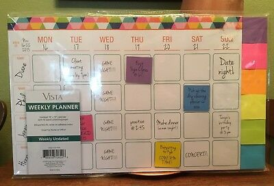 """Vista Weekly Planner 18"""" x 12"""", 52 Undated Weeks, 300 Perfect-fit Adhesive Notes"""