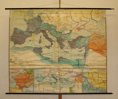 Wandkarte Roma Römisches Reich~1966 203x174cm ancient Rome SPQR school wall map