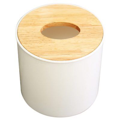 Round White Home Room Car Hotel Tissue Box Wooden Cover Paper Napkin Holder X3K6