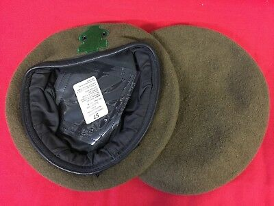 British Military Khaki Wool Beret With Green Flash Size 57Cm