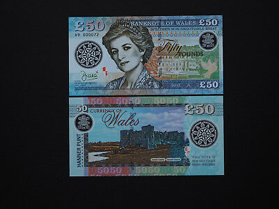 Wales Banknotes Brilliant 50 Pounds Art Banknote  -  Princess Diana  MINT UNC
