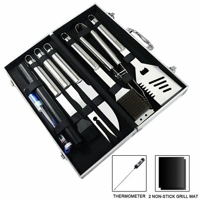Ucharge 10 Pieces Stainless Steel BBQ Grill Tool Sets Include 2 Non-stick Grill
