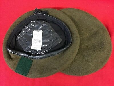 British Military Khaki Wool Beret With Green Square Flash Size 56Cm