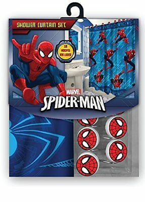 All New Fabric Marvel Shower Curtain Set With 12 Matching Hooks Spiderman