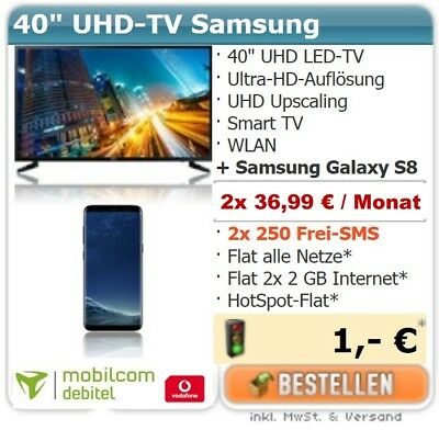"Handyvertrag mit Handy Samsung Galaxy S8 + Fernseher 40"" LED UHD TV Handy Bundle"
