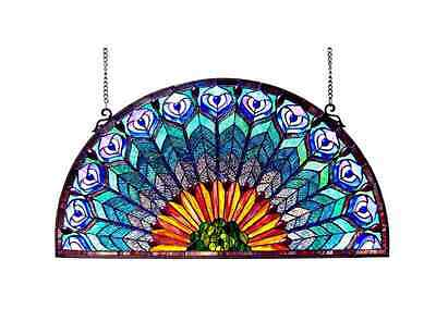 Stained Glass Panel Hanging Tiffany Style Panels Half Round Peacock Design Decor