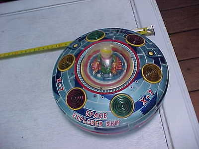 Vintage Old Battery Operated Tin Space Explorer Toy X-7 Flying Saucer Spaceship