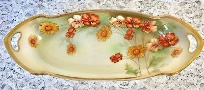 Antique R S Germany Floral Relish / Celery Dish - Old Green Mark