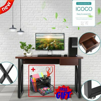 Steel Computer Desk PC Laptop Table Wood Workstation Student Study Home Office H
