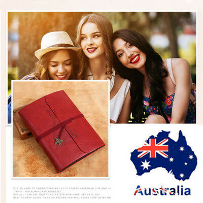 AU Red Large Leather Photo Album Vintage Scrapbook Retro Memory Book Diary Gifts