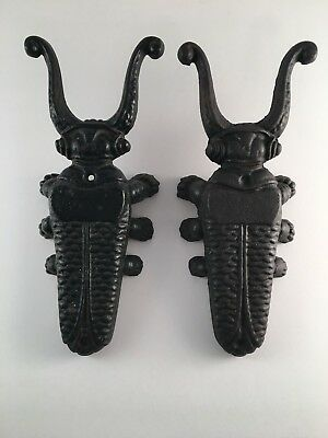 Pair of cast iron bug jack remover bug beetle rustic wall decor