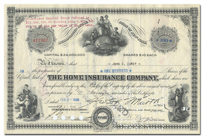 Home Insurance Company Stock Certificate (Old Firefighter Vignette)