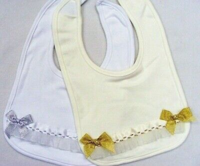 Kinder Romany Spanish Style Ribbon Bow Bibs Siiver & Gold -New for 2018