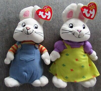 "Ty MAX & RUBY 7"" Beanie Baby Babies SET of 2 (Nickelodeon Nick Jr) NEW MINT TAGS"