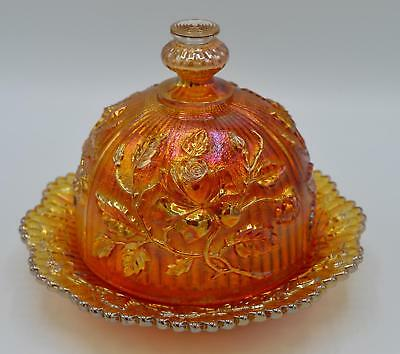 Vintage Imperial Marigold Carnival Glass Covered Butter Dome - Lustre Rose