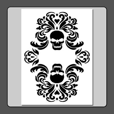 9 X 12 Gothic Double Skull Damask STENCIL Floral/Halloween/Decor/Painting