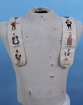 Rare Early 19Th C Continental Figural Embroidered Men'S Suspenders / Braces
