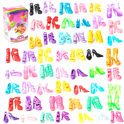 50 Pairs Assorted Different High Heel Shoes Boots Accessories For Barbie Dolls