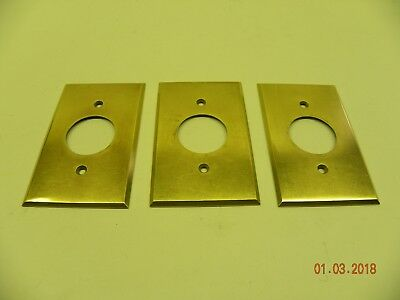 "ONE Vintage Brass 1 3/8"" Hole Outlet? Plate Cover (Polished w/ Screws)"