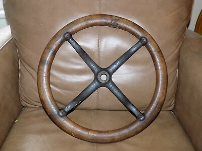 Original Model T Wood Steering Wheel with cast Iron Spider Web