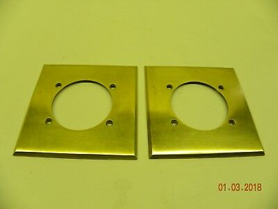 """ONE Vintage Brass Hubbell 2 1/2"""" Hole Outlet? Plate Cover (Polished w/ Screws)"""