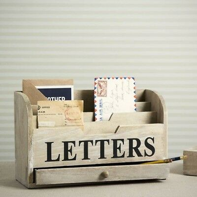 GISELA GRAHAM:Natural Wood Distressed LETTERS Rack:Desk Tidy:Drawer:Home Office