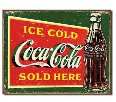 Coca Cola Vintage Ad Ice Cold Sold Here Metal Sign Aged Weathered Look Coke Soda