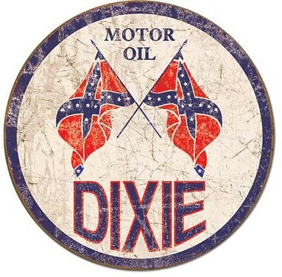 Dixie Gas Round Metal TIN Sign Gasoline Motor Oil Vintage Look Garage Wall Decor