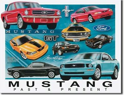Ford Mustang Past To Present Metal Tin Sign Garage Home Wall Decor New