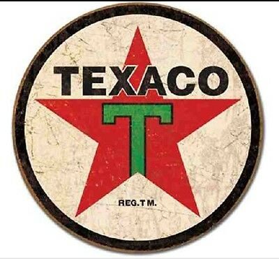 Round Texaco Vintage Antique Old Style Oil Gas Station Metal Tin Sign