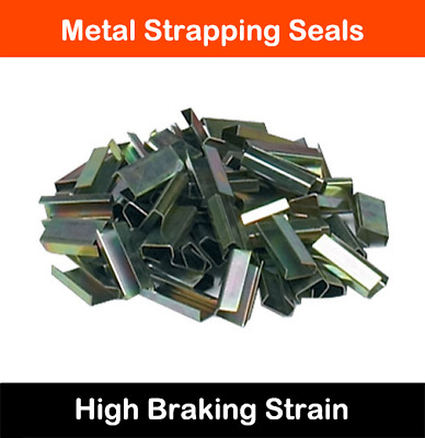 HEAVY DUTY METAL HAND PALLET STRAPPING BINDING SEAL CLIPS 12mm x 25mm *ALL QTYS*