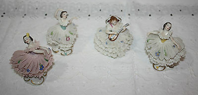 Vintage Volkstedt Set of 4 China Women Lace Dancers Figurine Ballerina