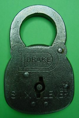 Vintage  DRAKE  Six Lever Padlock  - Drake Hardware - Burlington, IA  -  No Key