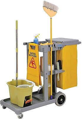 Global Janitor Cart Office Hotel Hospital Cleaning Gray with 25 Gallon Vinyl