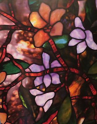 "New Artscape Magnolia Window Film 24x36"" Creates Privacy Faux Stained Glass Look"