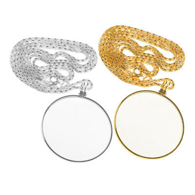 2pcs Necklace Pendant Chain Map Magnifying Glass Reading Magnifier Loupe 6X