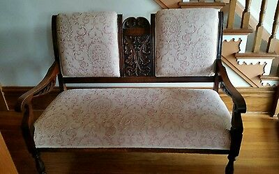 Victorian Oak Settee w/Carved Back and 3 Matching Pieces
