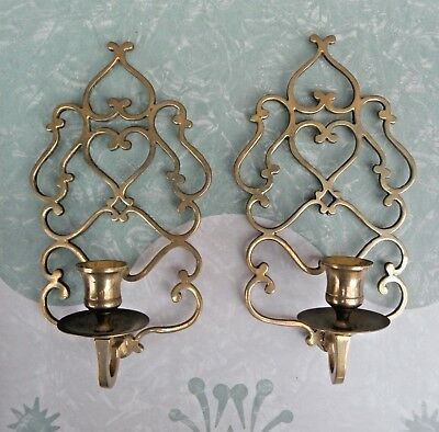Vintage Pair of Filigree Heart Candle Wall Sconces Solid Brass