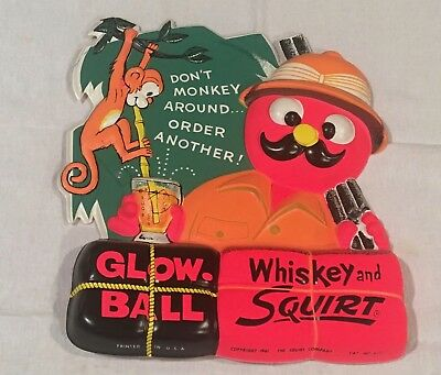 Vintage Squirt Glow Ball Advertising Vacuform Sign NOS 1961