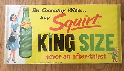 Vintage Squirt Soda 1960 King Size Paper Sign, New Old Stock