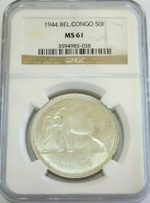 1944 Silver Belgian Congo 50 Francs African Elephant Coin Ngc Mint State 61
