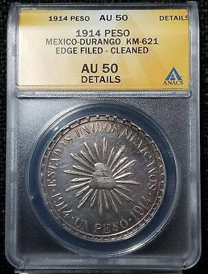 1914 Muera Huerta Peso Durango Mexico ANACS AU 50 Edge Filed - Cleaned