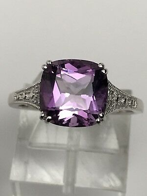 14K White Gold Antique Square Cut Amethyst and Diamond Accent Ring Size 7