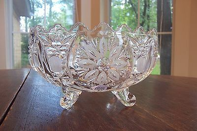 Vintage Imperlux Lead Crystal Four Footed Oval Bowl Made in Western Germany