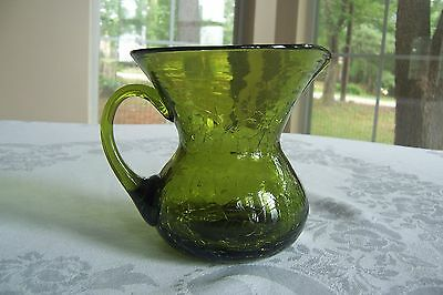 "Vintage Small Crackle Glass Pitcher with Applied Handle 4 1/4"" Tall"