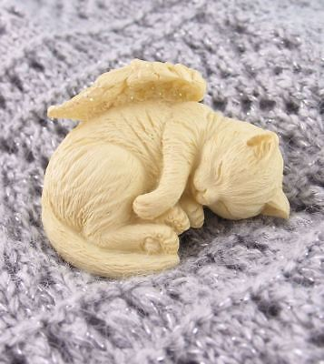 Small Sleeping Kitty Cat Angel Figurine with Wings #as20240B