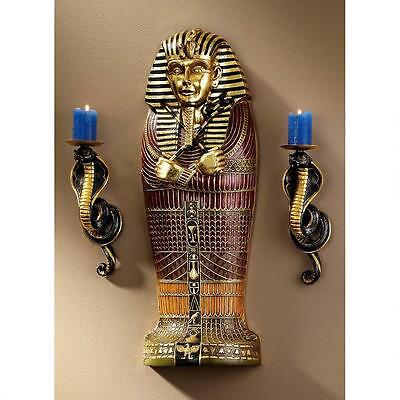 Egyptian Boy King Tut Gold Leaf Scaled Size Sarcophagus Wall Sculpture Frieze