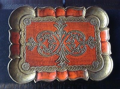 Antique Italian Hand Painted Gold/Red Florentine Wood Tole Serving/Vanity Tray