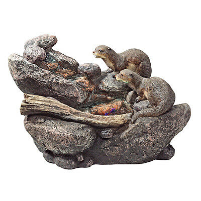 Cascading Sea Otters LED Illuminated Home Garden Water Feature Fountain